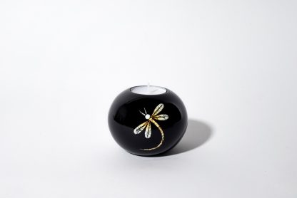 Dragonfly single wooden lacquer tealight holder