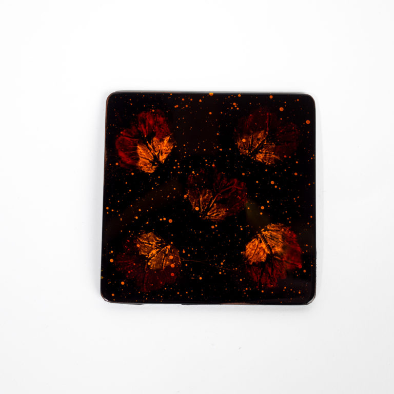 Single pressed flower wooden lacquer coaster