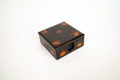 Pressed flower wooden lacquer box containing eight pressed flower matching wooden lacquer coasters