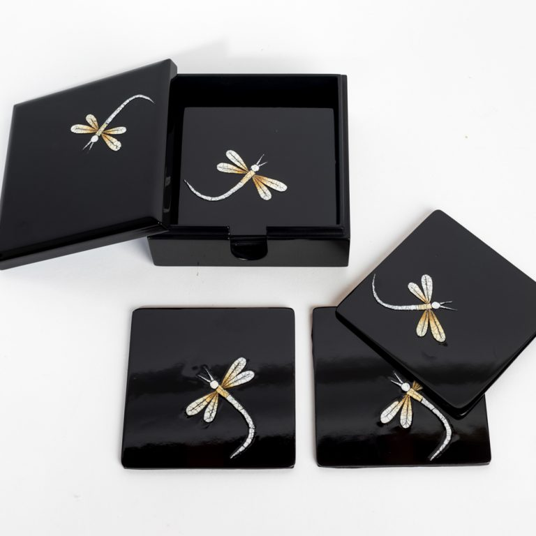 Dragonfly wooden lacquer coaster set with matching box
