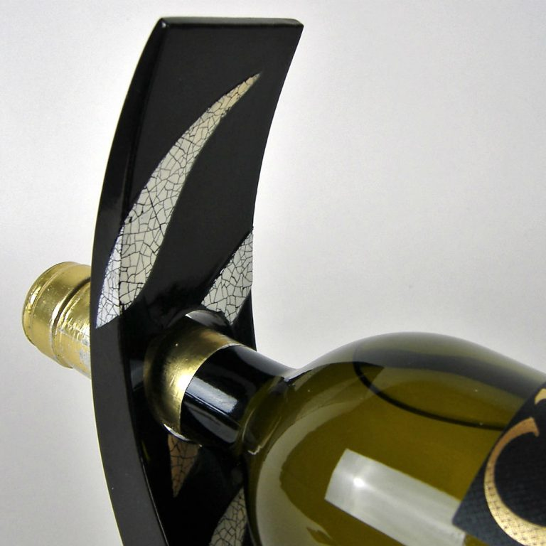 Eggshell mosaic wooden lacquer wine holder