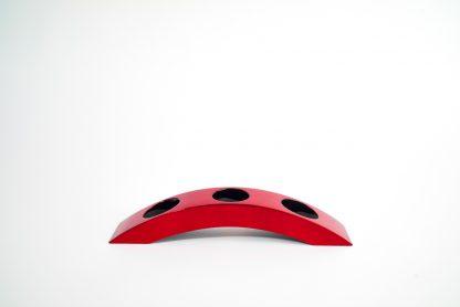 Metallic red wooden lacquer tealight holder in bridge 3 design.