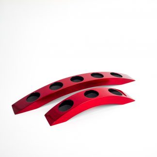 Metallic red wooden lacquer tealight holders in bridge-style with either 3 or 5 holes.