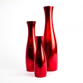 Metallic red wooden lacquer vases available in three sizes, 25cm, 35cm and 45cm.