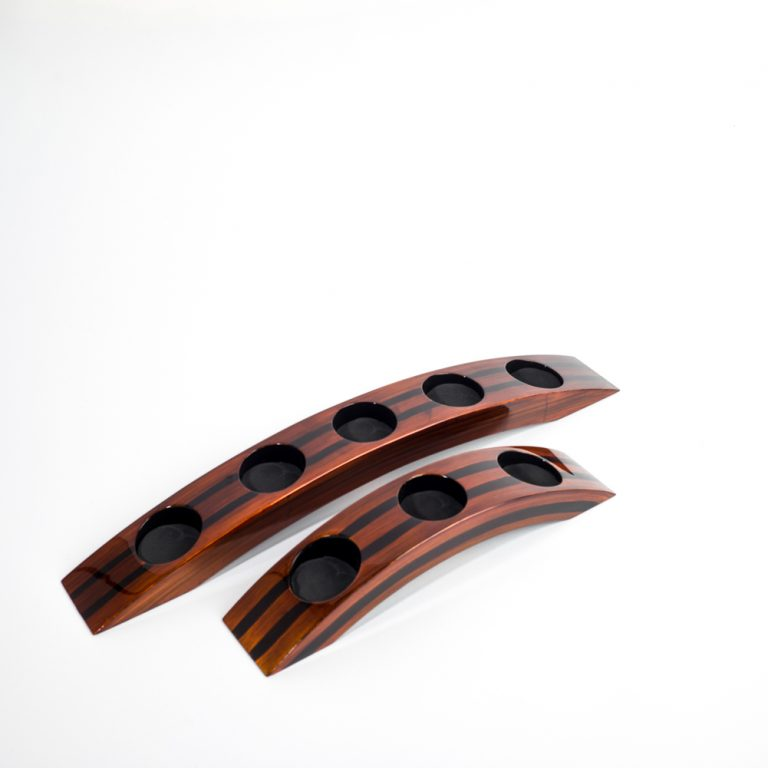 Tiger's Eye wooden lacquer tealight holders in bridge style with either 3 or 5 holes.