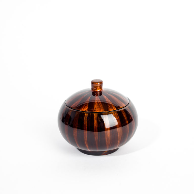 Wooden lacquer trinket box with matching lid in Tiger's Eye design.