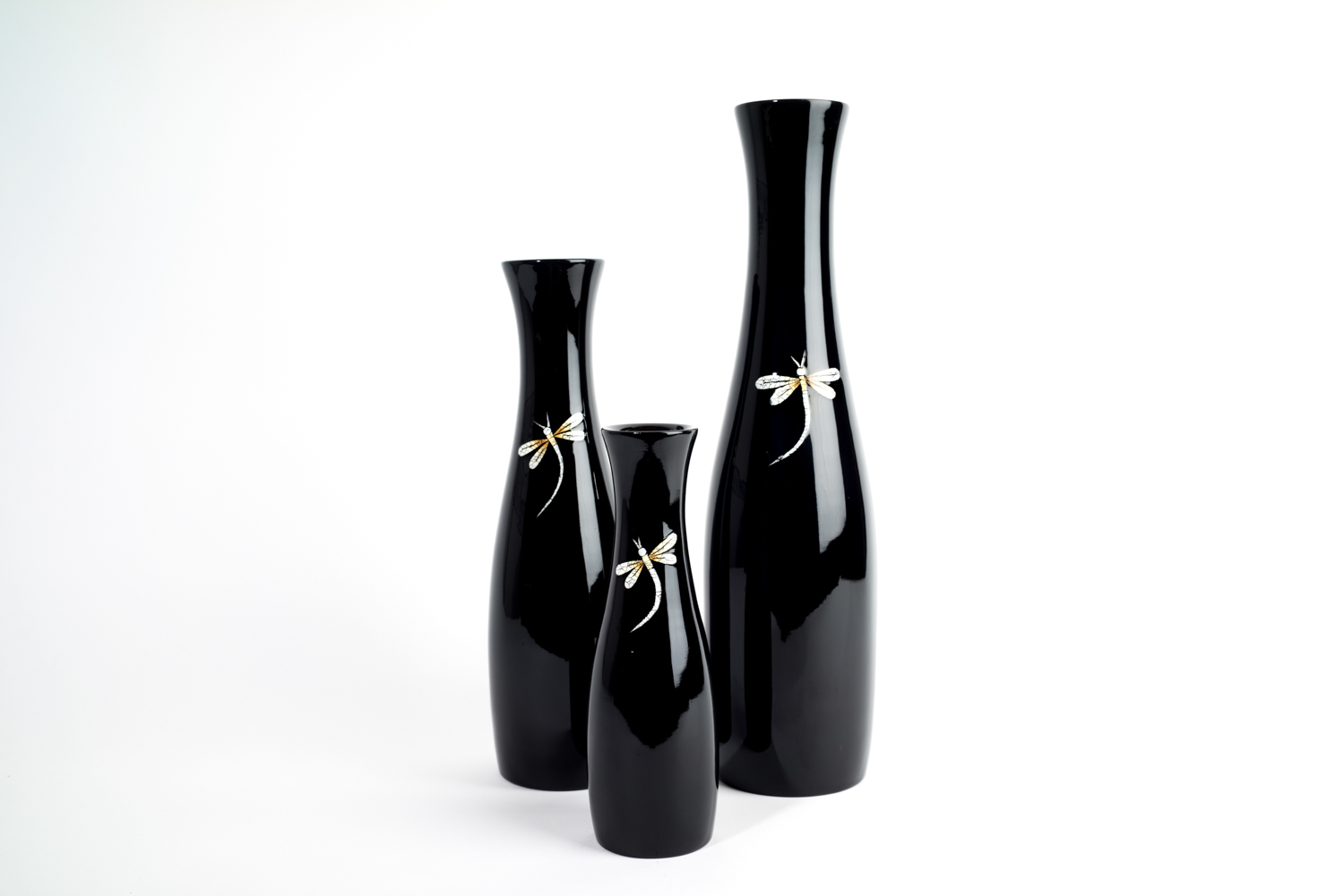 Dragonfly wooden lacquer vases - available in 3 sizes. Smallest vase is to the front of the image.