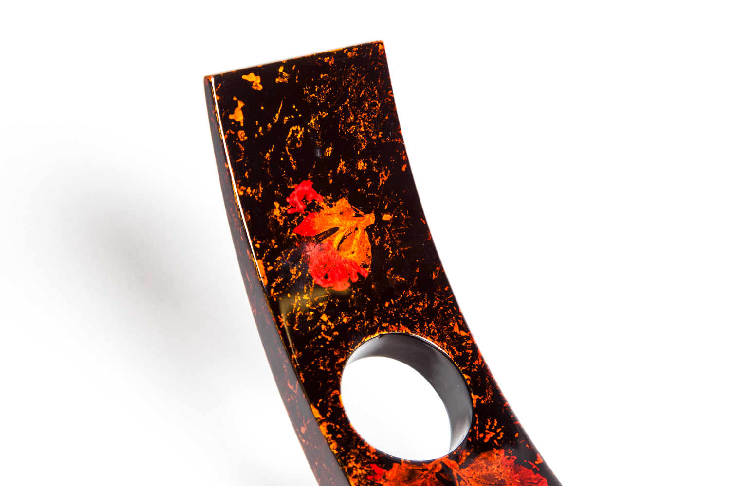 Pressed flower wooden lacquer wine holder
