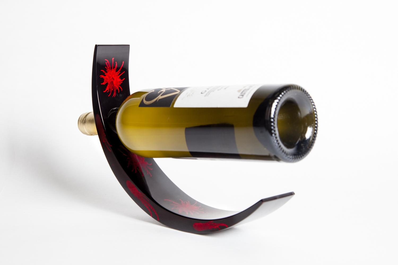 Red and black splash wooden lacquer wine bottle holder