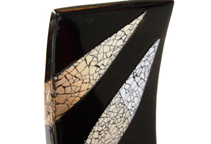 eggshell mosaic wooden lacquer wine holder.