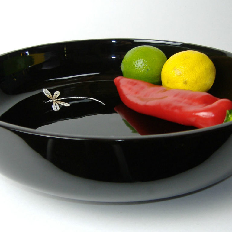Dragonfly decorative wooden lacquer fruit bowl