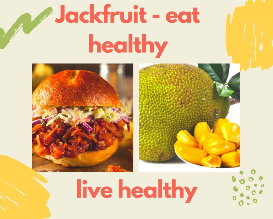 Jackfruit `pulled pork' burger and fresh jackfruit