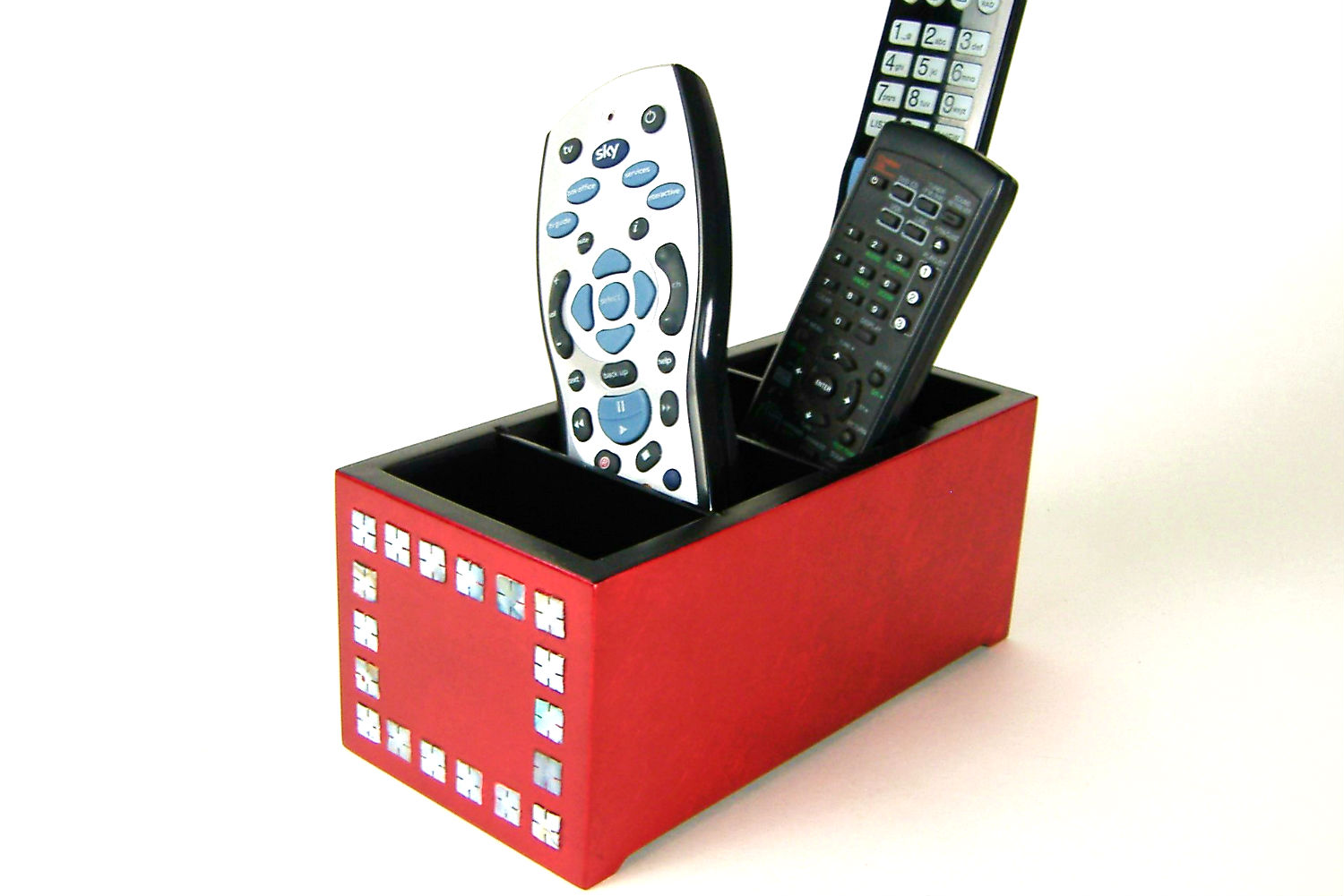 Metallic red wooden lacquer remote control box with remotes