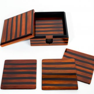 Tiger's Eye wooden lacquer coaster set