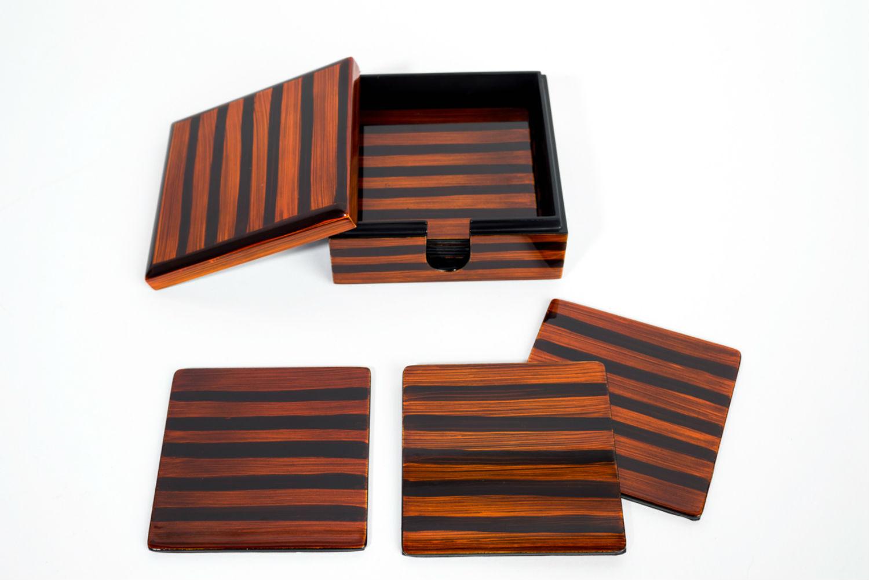 Tiger's Eye wooden lacquer coaster set