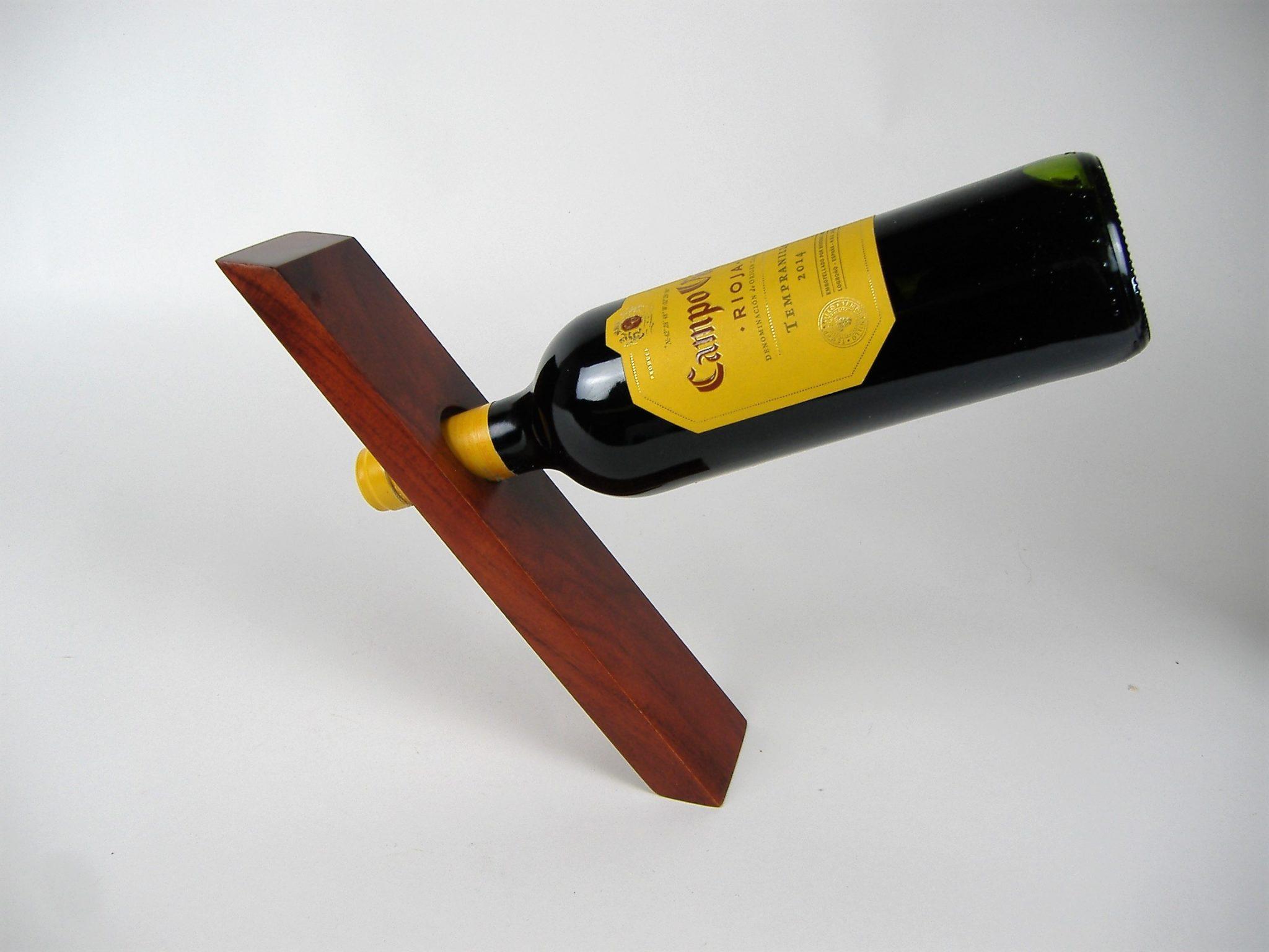 natural wood angled wine bottle holder