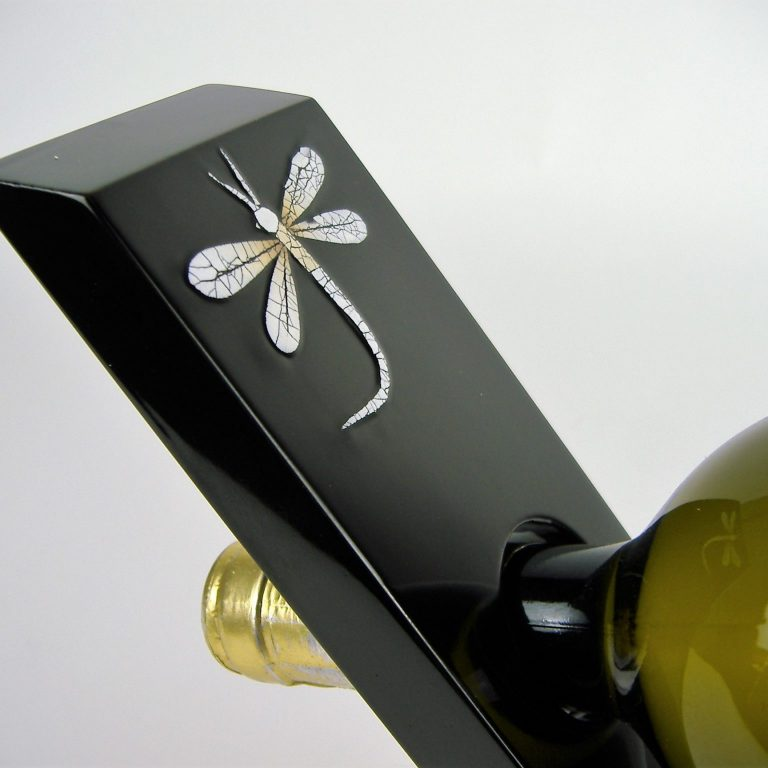 dragonfly angled wine bottle holder