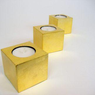 Metallic gold cube wooden lacquer tealight holder set