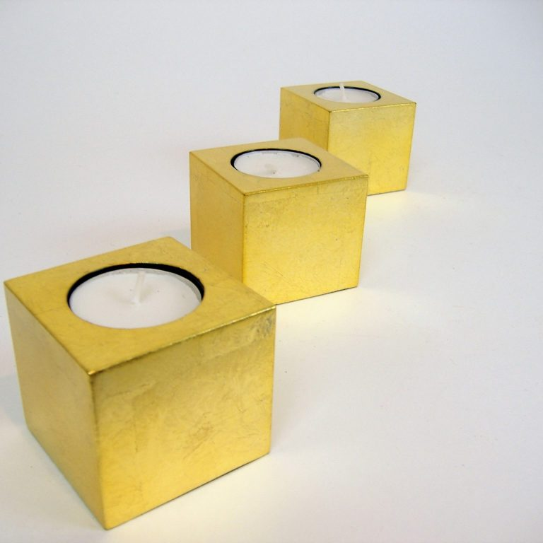 Metallic gold cube wooden lacquer tealight holder set