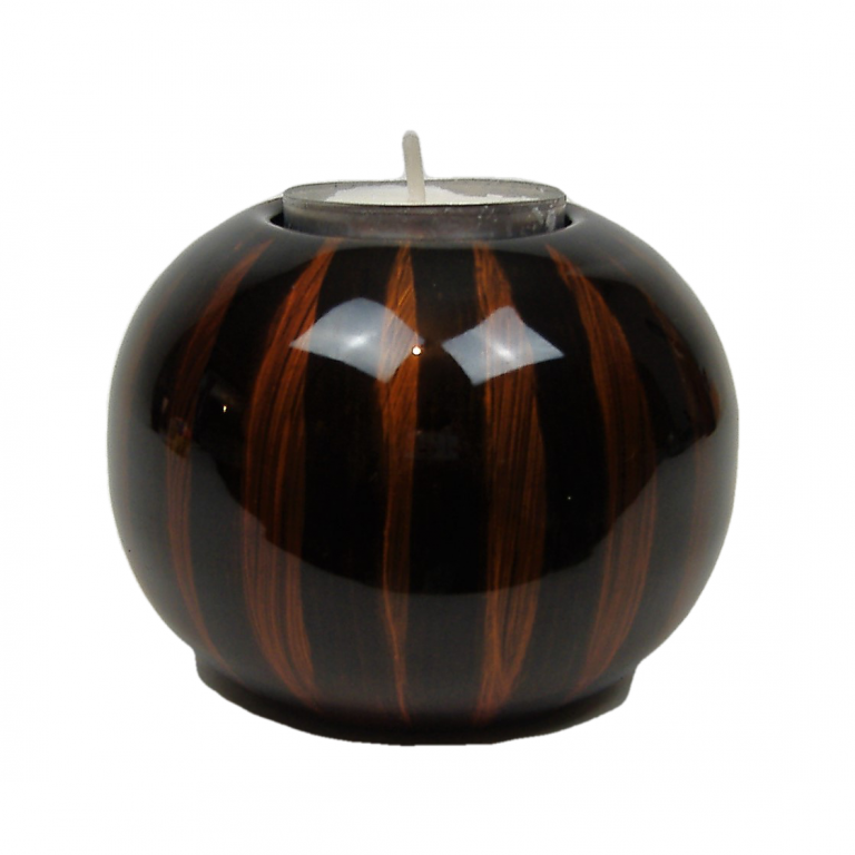 Tiger's Eye single wooden lacquer tealight holder