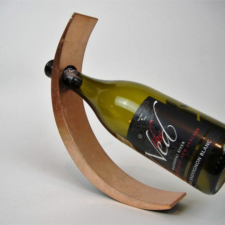 Metallic copper wooden lacquer wine holder