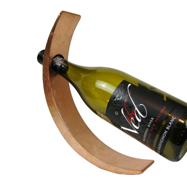 Metallic copper wooden lacquer wine holder