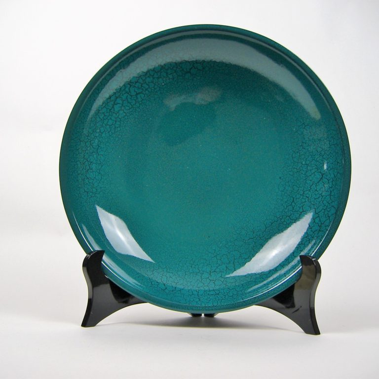 Turquoise crackle wooden lacquer serving bowl