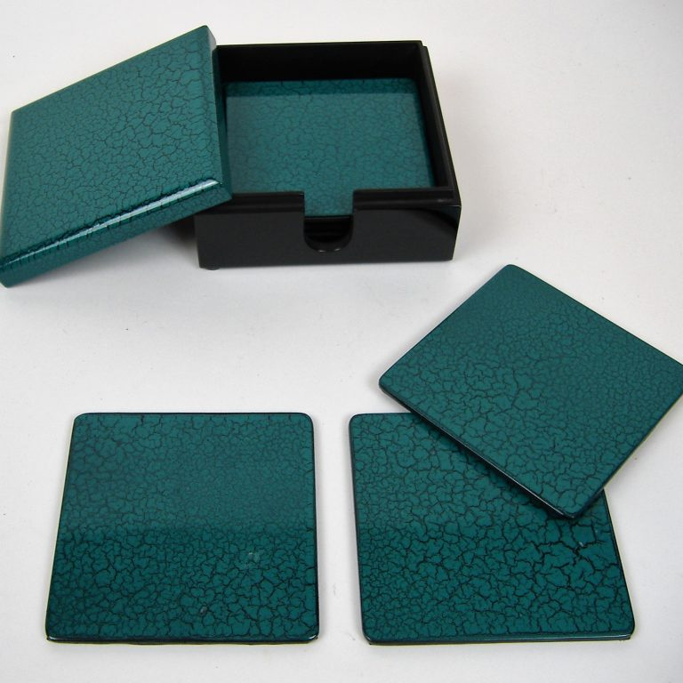 Turquoise crackle wooden lacquer coaster set