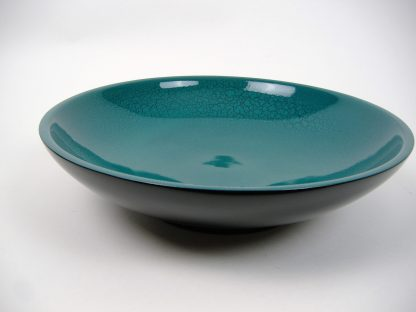Turquoise crackle wooden lacquer serving bowl Turquoise crackle wooden lacquer serving bowl