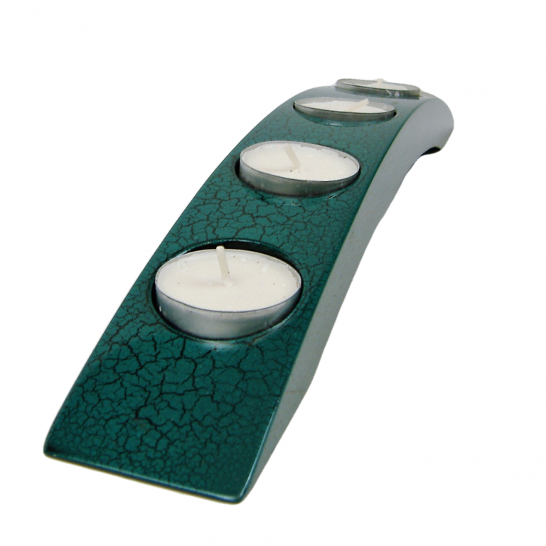 Turquoise crackle wooden lacquer tealight holders