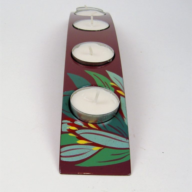 Purple lily wooden lacquer tealight holders