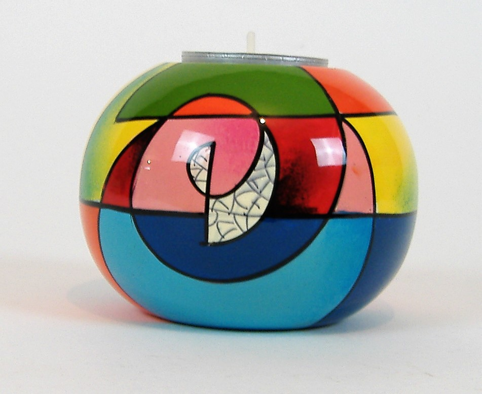 Picasso single wooden lacquer tealight holder