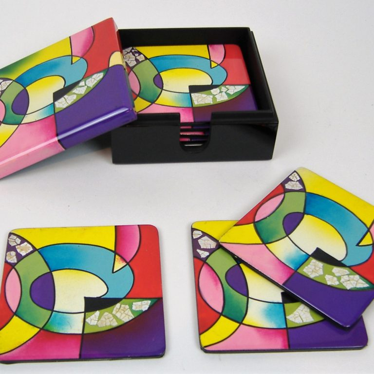 Picasso wooden lacquer coaster set