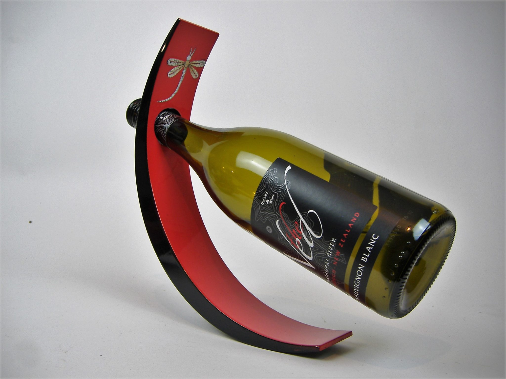 Red dragonfly wooden lacquer wine holder