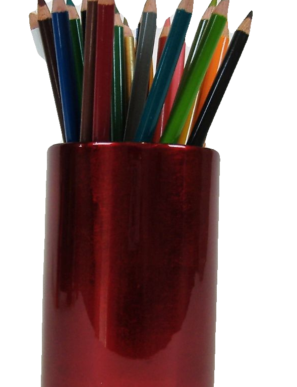 Metallic red wooden lacquer pen pot