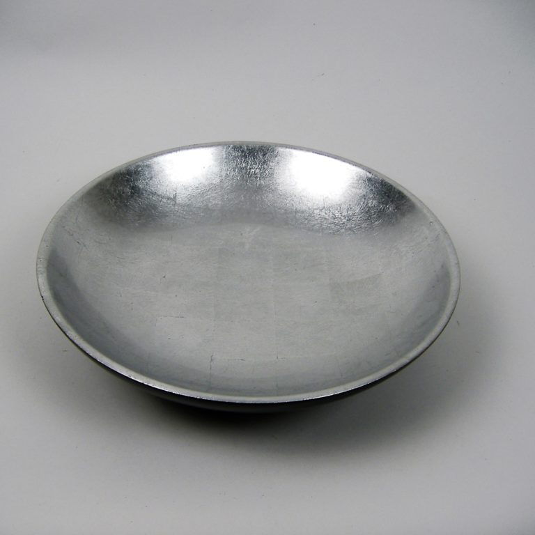 metallic silver wooden lacquer serving bowl