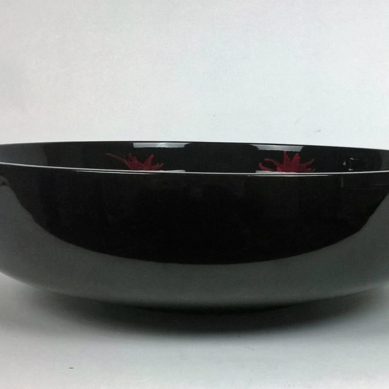 Red and black splash wooden lacquer fruit bowl