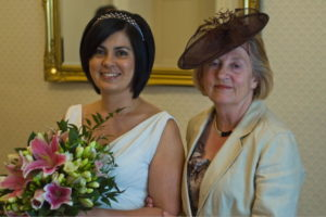Joceline and her mum on Jos and John's wedding day, 2007