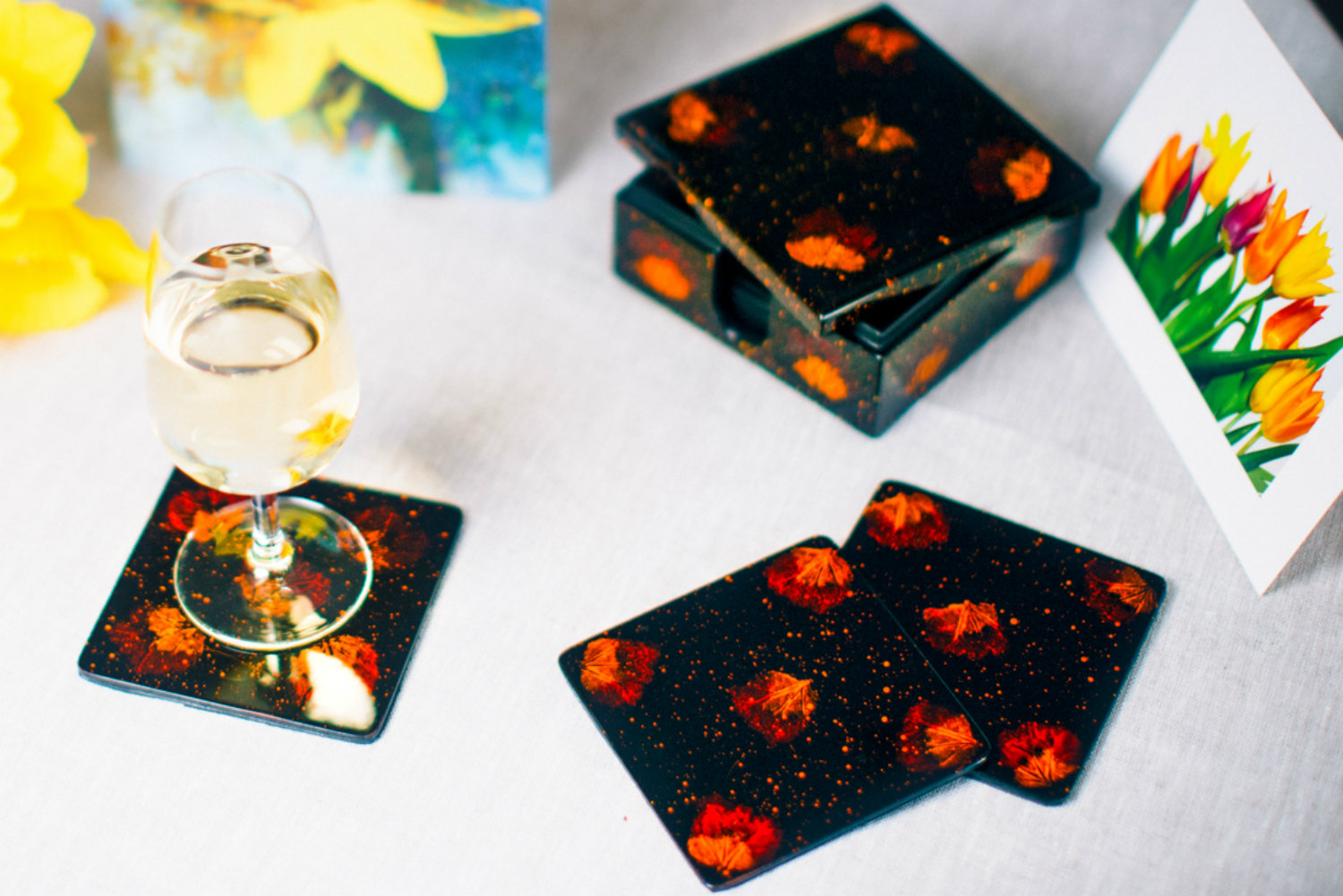 Pressed flower wooden lacquer set of 8 coasters