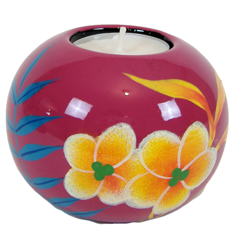 Pink Palm leaf single wooden lacquer tealight holder