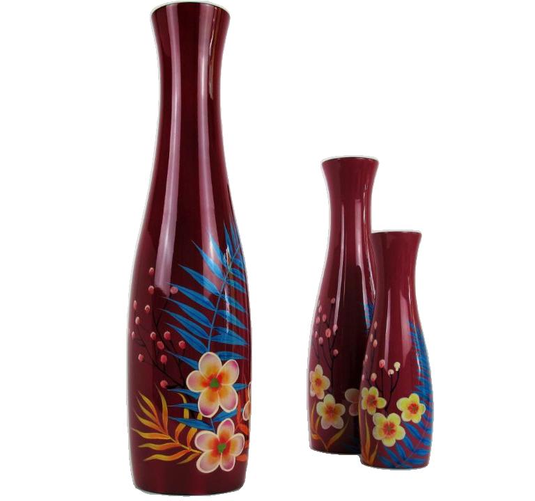 Palm leaf wooden lacquer vases
