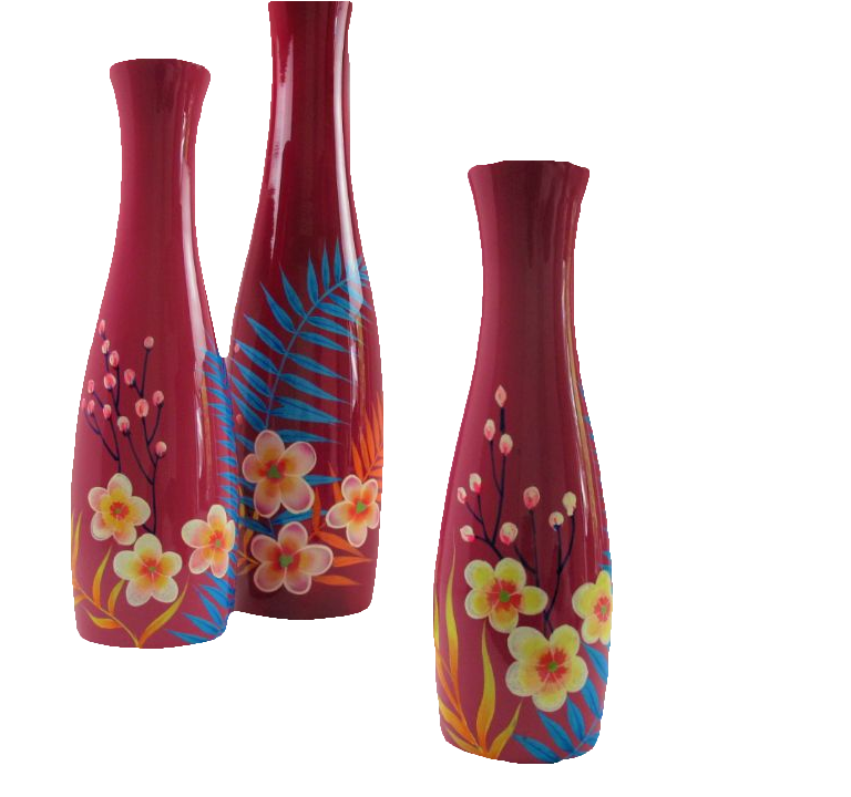 Palm leaf wooden lacquer vases