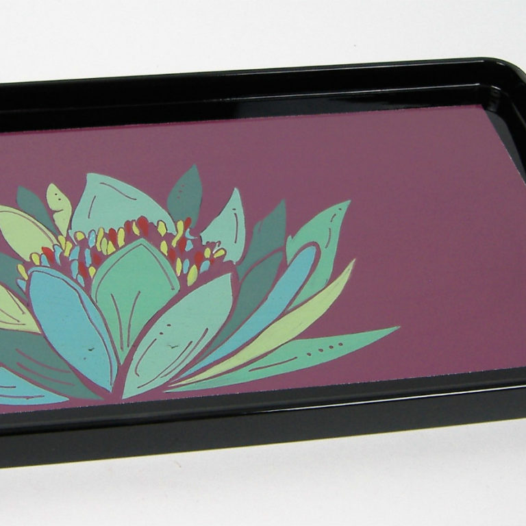 Purple Lily wooden lacquer serving tray