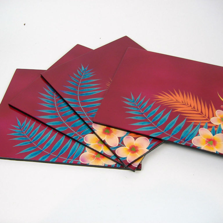 pink palm leaf wooden lacquer place mat set