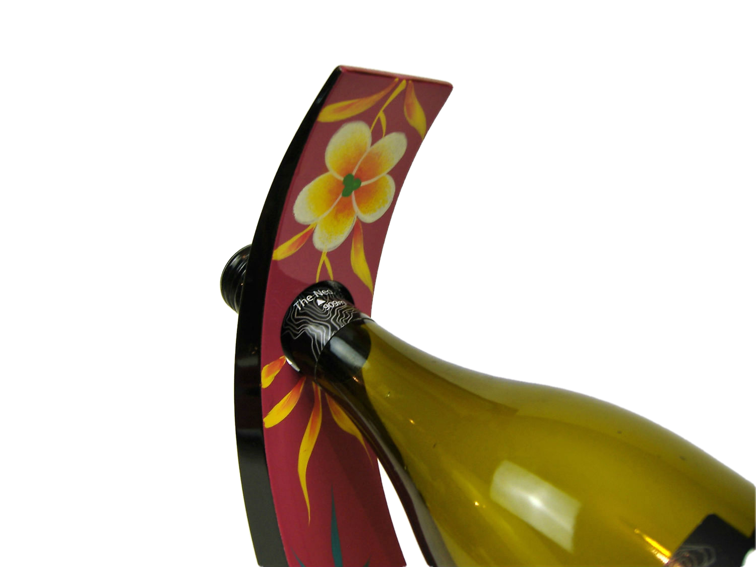 Pink palm leaf wooden lacquer wine holder