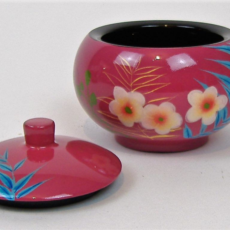 Pink palm leaf wooden lacquer trinket box