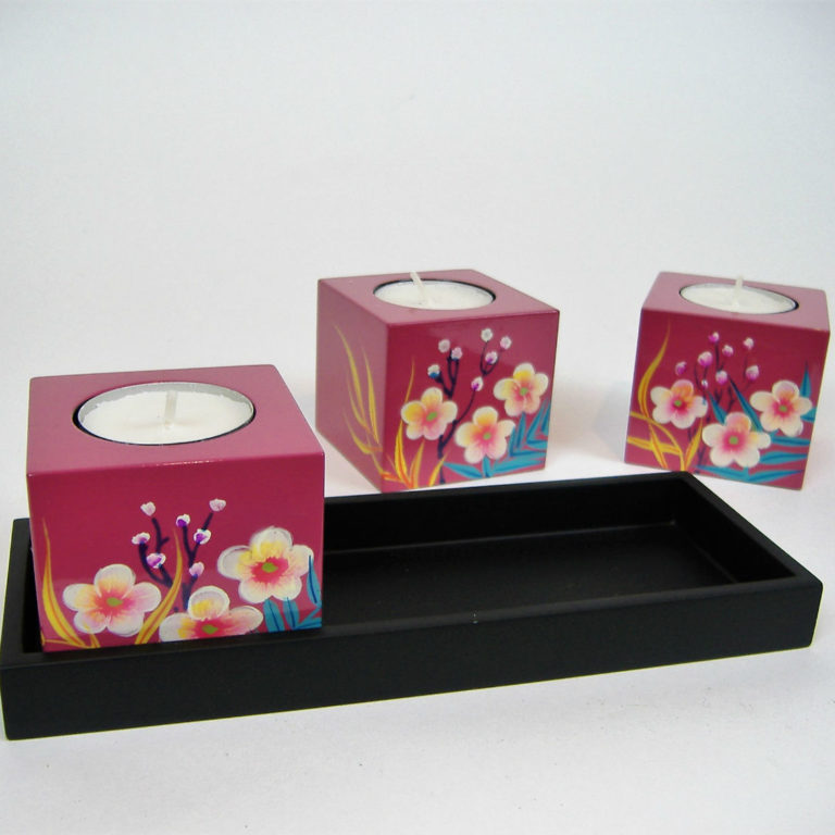 Pink palm leaf cube wooden lacquer tealight holder set