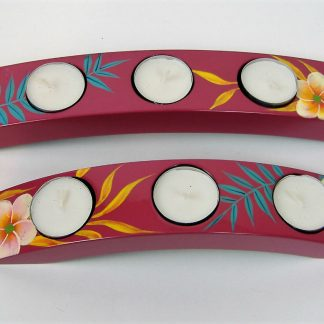 Pink palm leaf wooden lacquer tealight holders