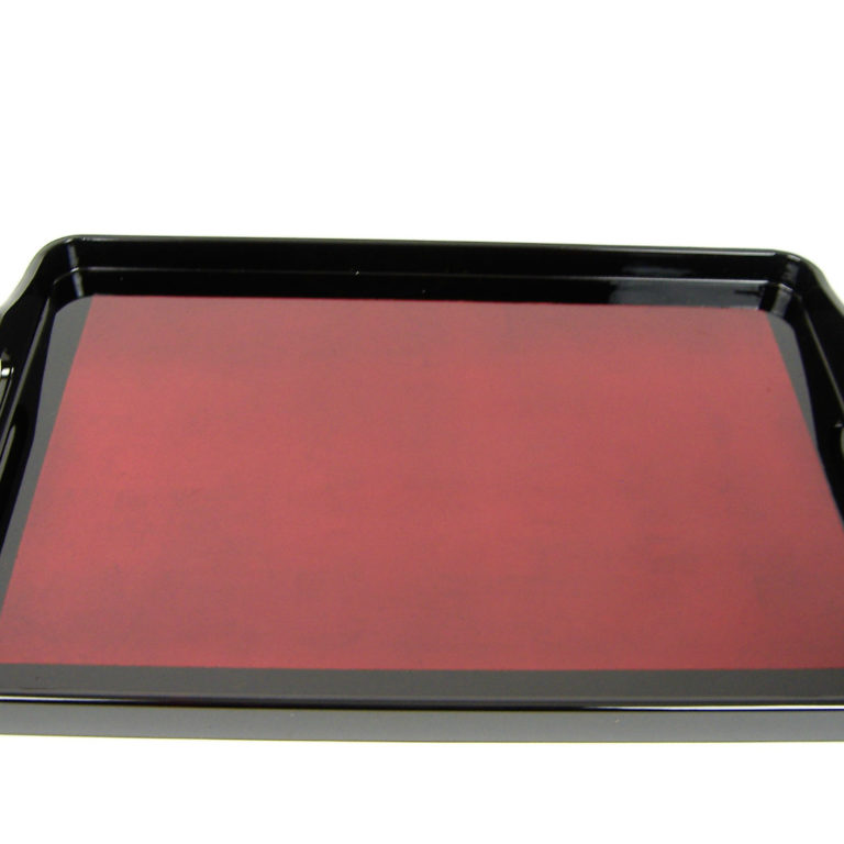 Red metallic wooden lacquer serving tray