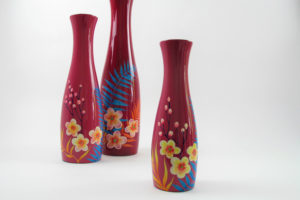 Pink palm leaf wooden lacquer vases